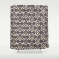 damask Shower Curtains featuring Damask aubergine by Carolina Abarca