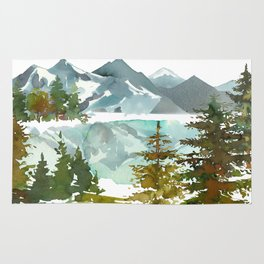 Forest green teal blue watercolor hand painted landscape Rug