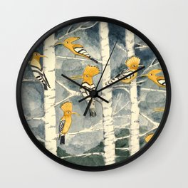 Hoopoes in the forest Wall Clock