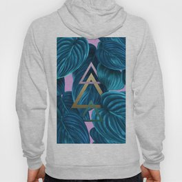 tropical turquoise leaves pattern Hoody