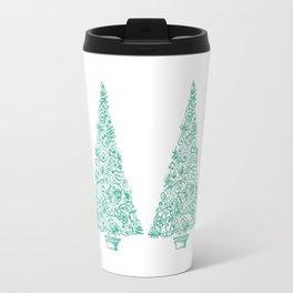 green Christmas tree in New Zealand Travel Mug