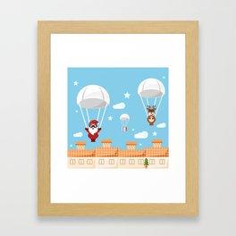 Santa Claus and reindeer parachutists delivering presents Framed Art Print