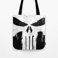 punisher Tote Bags featuring Punisher White by d.bjorn