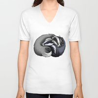 cuddle V-neck T-shirts featuring Badger Cuddle by Lyndsey Green Illustration