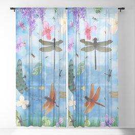 There Be Dragons - Dragonfly Fantasy Sheer Curtain