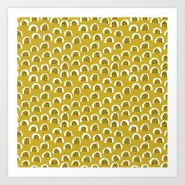 Sunny Melon love abstract brush paint strokes yellow ochre Art Print