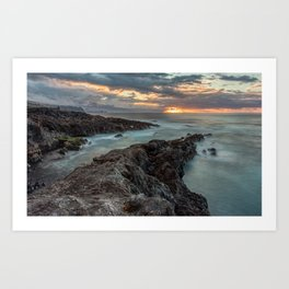 Golden Hour sunset with Long Exposure Art Print