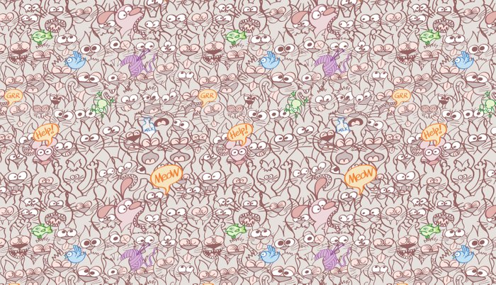 Seamless pattern world crowded with funny cats Pillow Sham