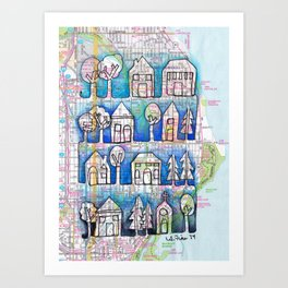 Ombre Shorewood, WI (Milwaukee) Neighborhood Continuous Line Drawing on vintage map Art Print