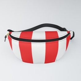 Jumbo Berry Red and White Rustic Vertical Cabana Stripes Fanny Pack