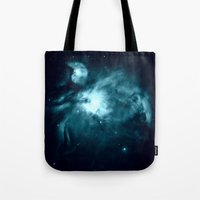 nebula Tote Bags featuring Orion nebula : Teal Galaxy by 2sweet4words Designs