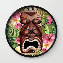 Tropical Hibiscus Tiki Wall Clock