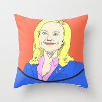 parks and recreation Throw Pillows featuring Leslie Knope (Parks & Recreation) by Pan and Scan