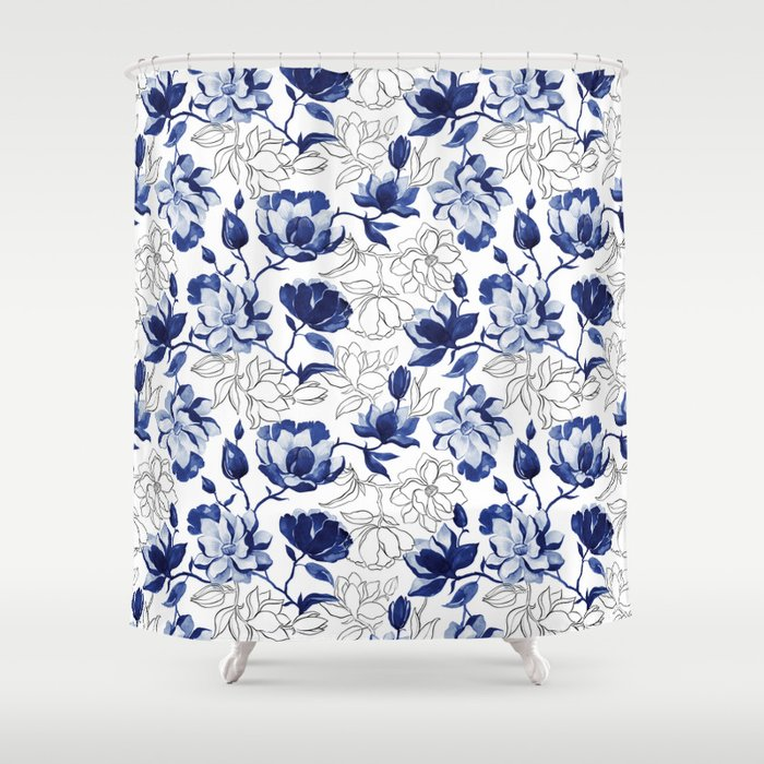 Navy Magnolia Shower Curtain