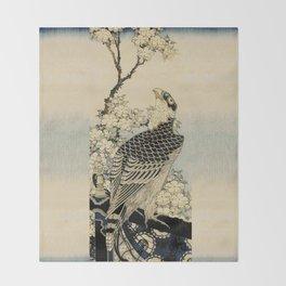 Hokusai -falcon next to a plum tree in bloom - 葛飾 北斎,hawk,bird. Throw Blanket