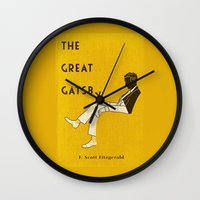 the great gatsby Wall Clocks featuring The Great Gatsby by MW. [by Mathius Wilder]