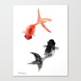 Two KOI , Feng Shui, Fish art, Canvas Print