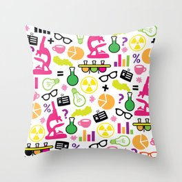 Neon Scientist Throw Pillow
