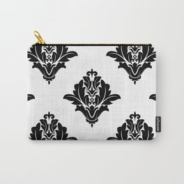 Black and White Royal Gothic Floral Damask Flower Bloom Carry-All Pouch