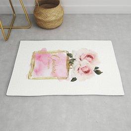Perfume, Pink, Gold, Fashion, illustration, Roses, Amanda Greenwood, watercolor, wall art, make up, Rug