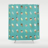 dessert Shower Curtains featuring Dessert by Olya Yang