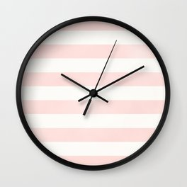 Blush Pink Coral Stripe Line Bold Stripes Lines Wall Clock