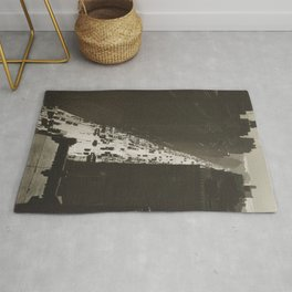 Seventh Avenue, NYC Looking South from 35th Street, Manhattan black and white skyline photograph Rug