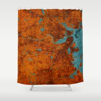 vintage map Shower Curtains featuring Vintage map by Larsson Stevensem
