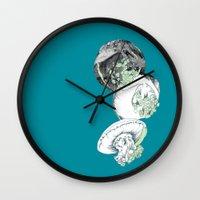 jelly fish Wall Clocks featuring Jelly Fish by Eleanor V R Smith