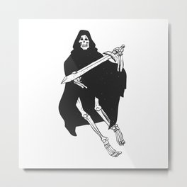 Grim cartoon - Reaper cartoon - Gothic skeleton Metal Print