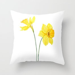 two botanical yellow daffodils watercolor Throw Pillow