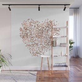 Rose Gold Glam Confetti Heart Wall Mural