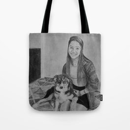 Portrait of a Girl with Her Dog Tote Bag
