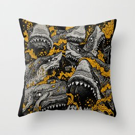Sharks (Color version) Throw Pillow