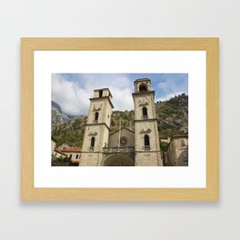 Facade Of Cathedral In Kotor Framed Art Print