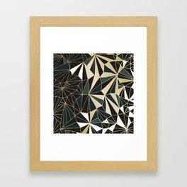 New Art Deco Geometric Pattern - Emerald green and Gold Framed Art Print