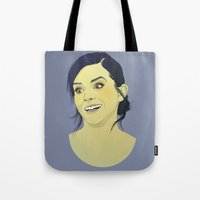 emma watson Tote Bags featuring Emma Watson funny face by Esther Cerga