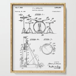 Drum Set Patent - Drummer Art - Black And White Serving Tray