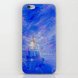 The Teapot Village - Blue Japanese Lighthouse Village Artwork iPhone Skin