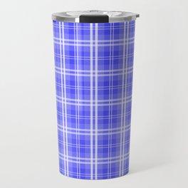 Bright Neon Blue and White Tartan Plaid Check Travel Mug