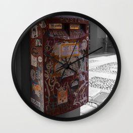 Bologna Red Letter Box Street Art Black and White Photography Wall Clock