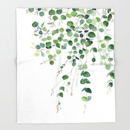 Eucalyptus Watercolor Throw Blanket