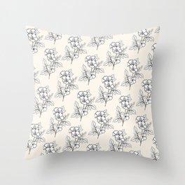 Seashell White Flowers Motif Throw Pillow