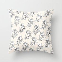 Seashell White Flowers Motif Throw Pillow