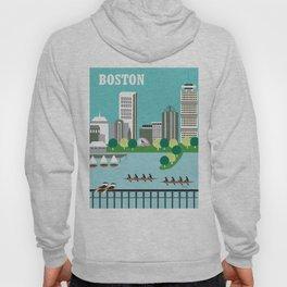 Boston, Massachusetts - Skyline Illustration by Loose Petals Hoody