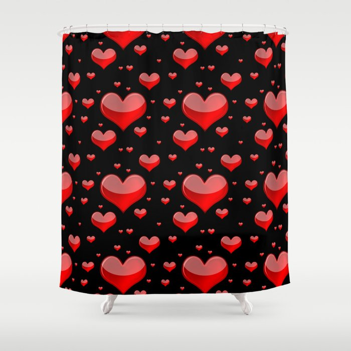 Hearts Red And Black Shower Curtain By Falln Society6