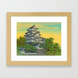 Kawase Hasui Vintage Japanese Woodblock Print Himeji Castle Framed Art Print