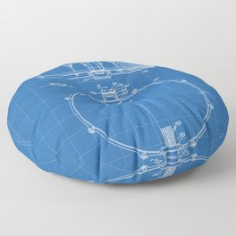 Snare Drum Patent - Drummer Art - Blueprint Floor Pillow