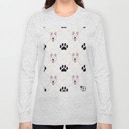 White German Shepherd Paw Print Pattern Long Sleeve T-shirt