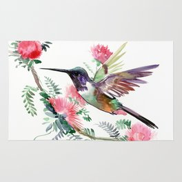 Flying Hummingbird and Red Flowers Rug